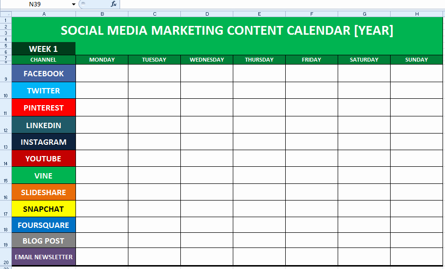 Social Media Proposal Template Inspirational social Media Content Calendar Template Excel