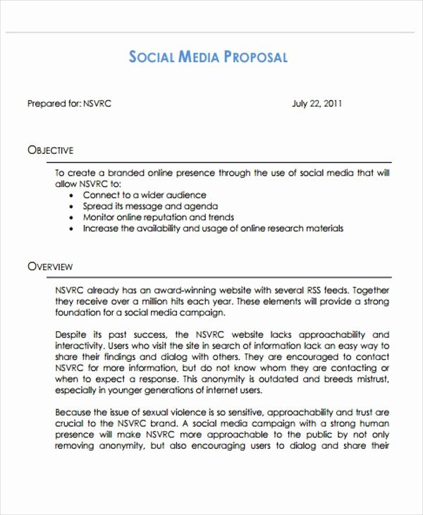 Social Media Proposal Template Unique 10 social Media Proposal Templates Free Sample Example