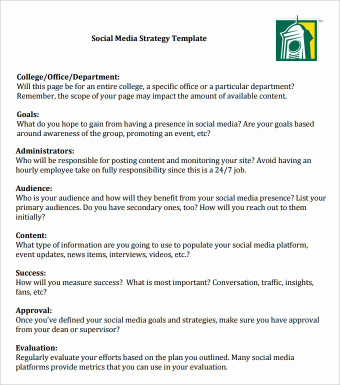 Social Media Proposal Template Unique social Media Strategy Template 8 Free Pdf Documents
