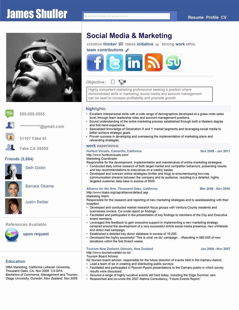 Social Media Resume Template Beautiful Inspired Resume by Rkaponm