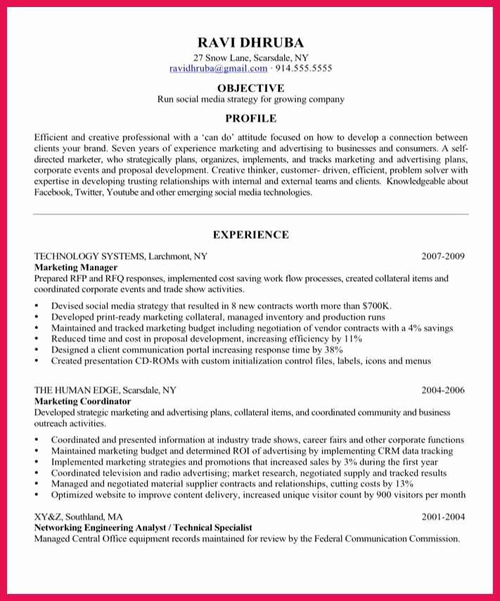 Social Media Resume Template Beautiful social Media Manager Resume
