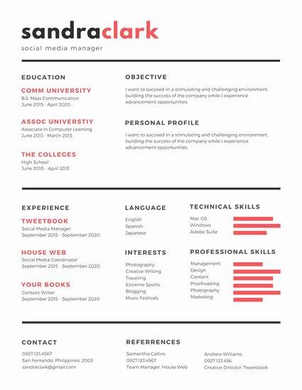 Social Media Resume Template Fresh Red Black social Media Manager Resume Templates by Canva