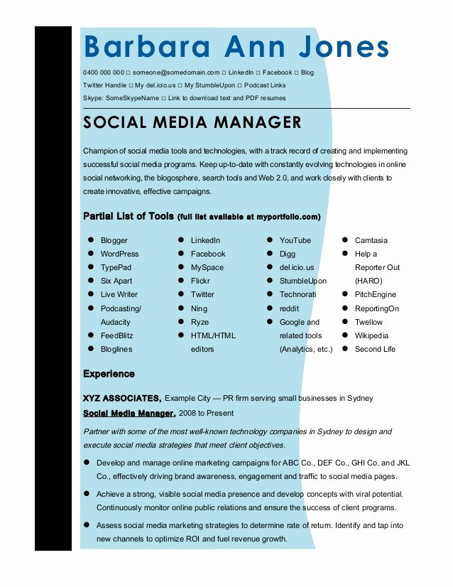 Social Media Resume Template Lovely Cmmaao Pmi Resume Template social Media Manager