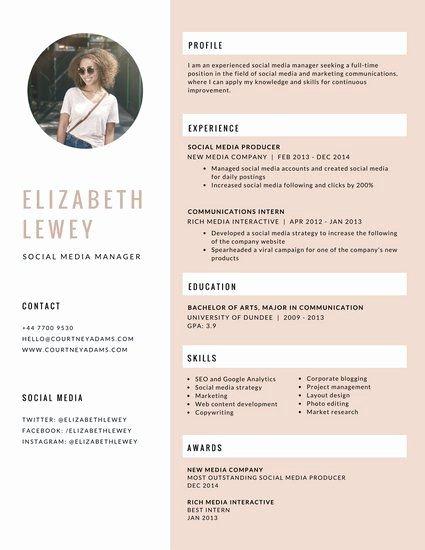 Social Media Resume Template Lovely Pink Feminine social Media Manager Resume