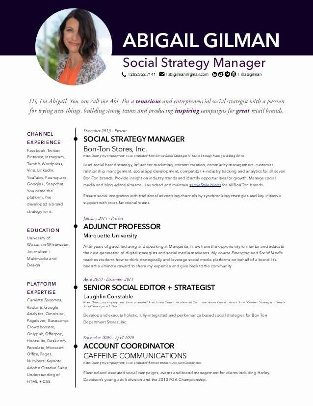 Social Media Resume Template Unique Abigail Gilman social Media Manager Resume