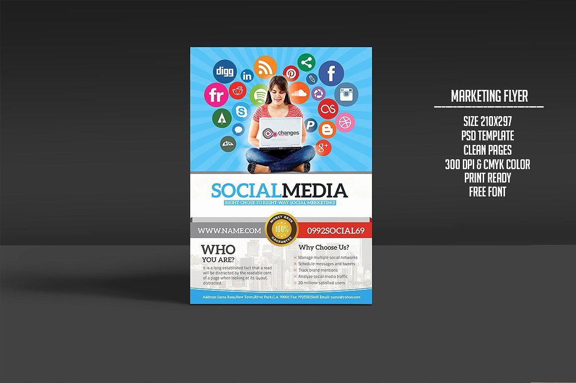 Social Media Template Psd Awesome social Media Marketing Flyer Flyer Templates Creative