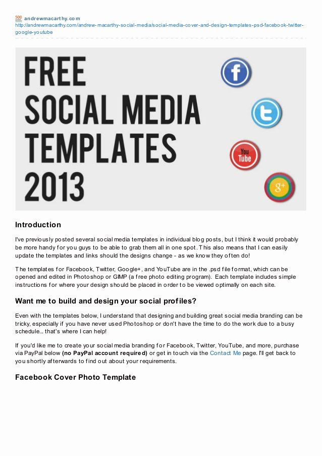 Social Media Template Psd Beautiful social Media Templates 2013 Free Psd