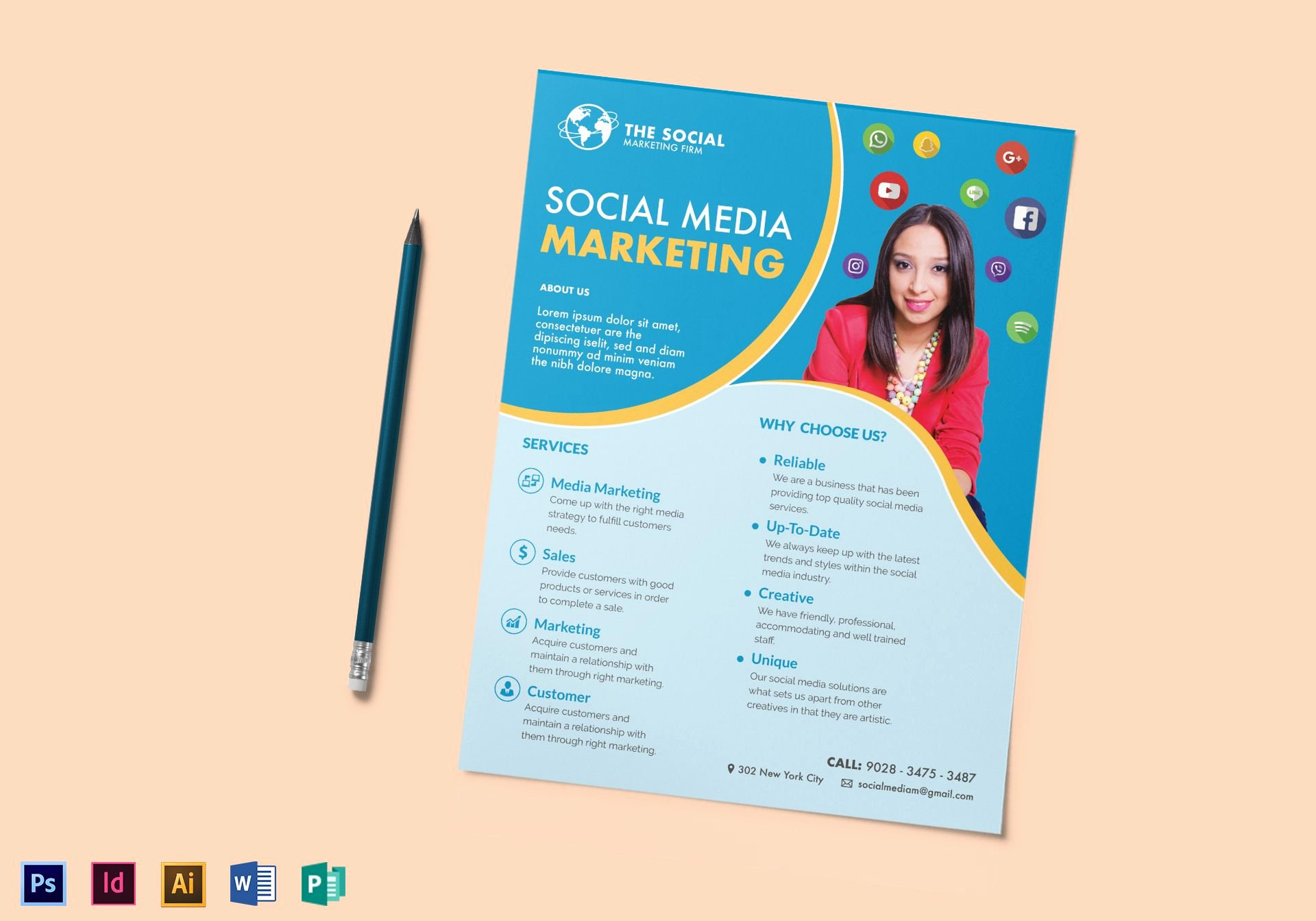 Social Media Template Psd Lovely social Media Marketing Flyer Design Template In Psd Word