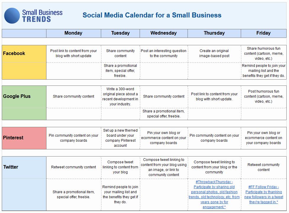 Social Media Website Template Fresh social Media Calendar Template for Small Business