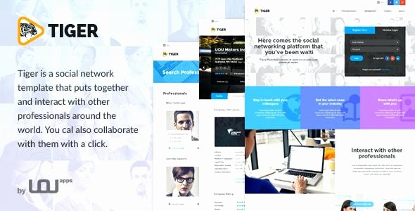 Social Network Website Template Beautiful Tiger social Network theme for Panies Professionals
