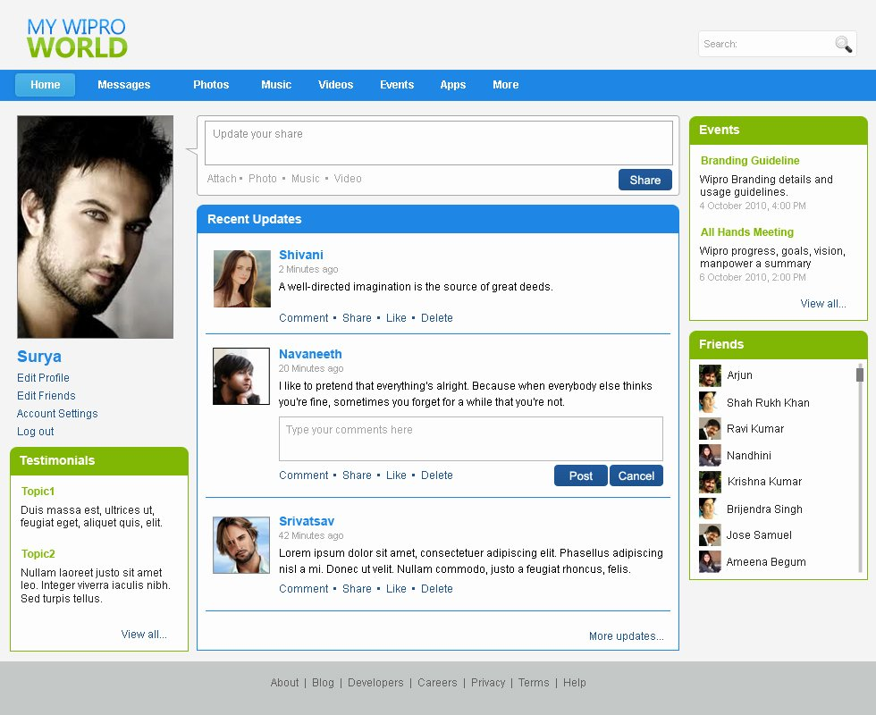 Social Network Website Template Elegant Websites by Bhanu Shankar at Coroflot