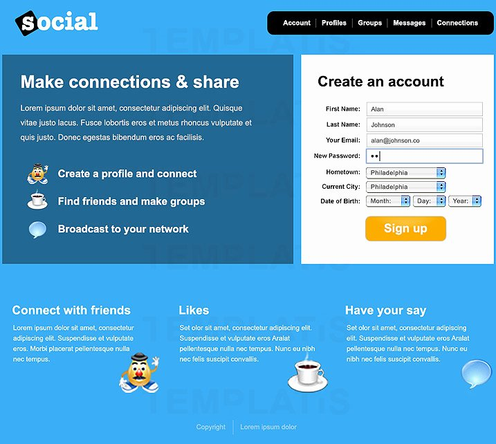 social media web templates
