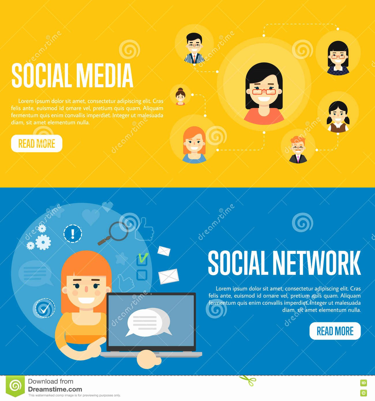 Social Networking Web Template Inspirational social Media Network Website Templates Stock Vector