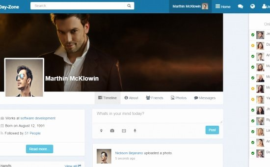 Social Networking Web Template Luxury Dayzone Bootstrap social Network