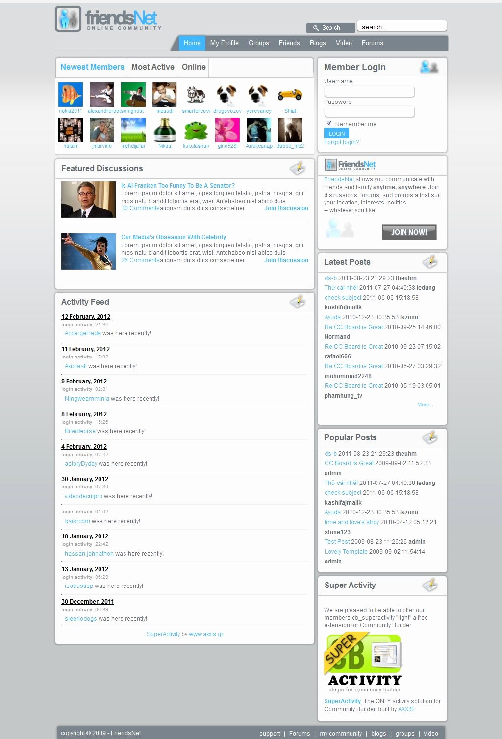 Social Networking Web Template New Jma social Network Template