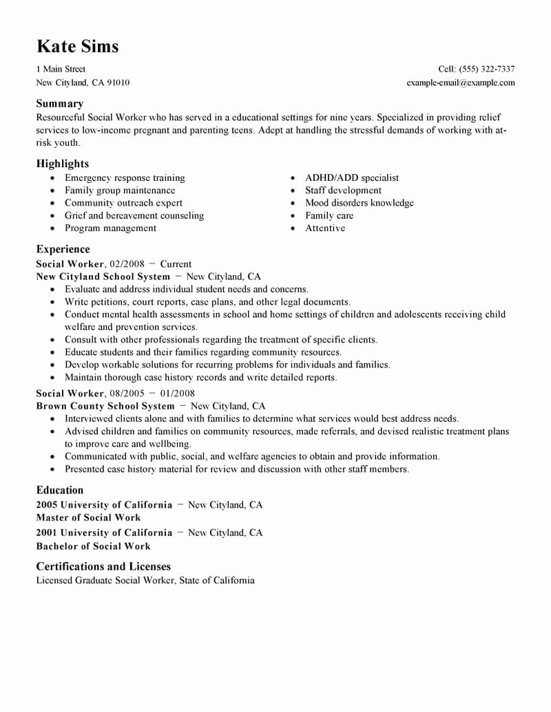 Social Work Resume Template Awesome Best social Worker Resume Example