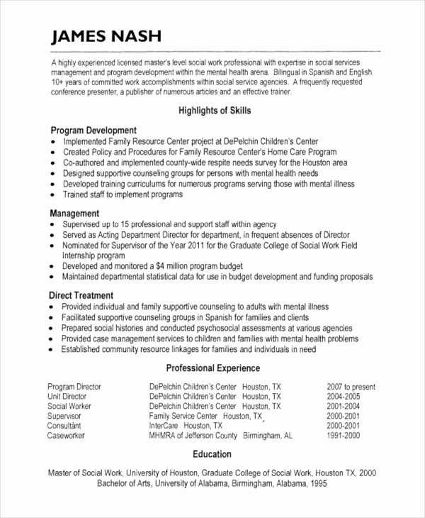 Social Work Resume Template Beautiful Hospice Resume 5 Free Word Pdf Document Downloads