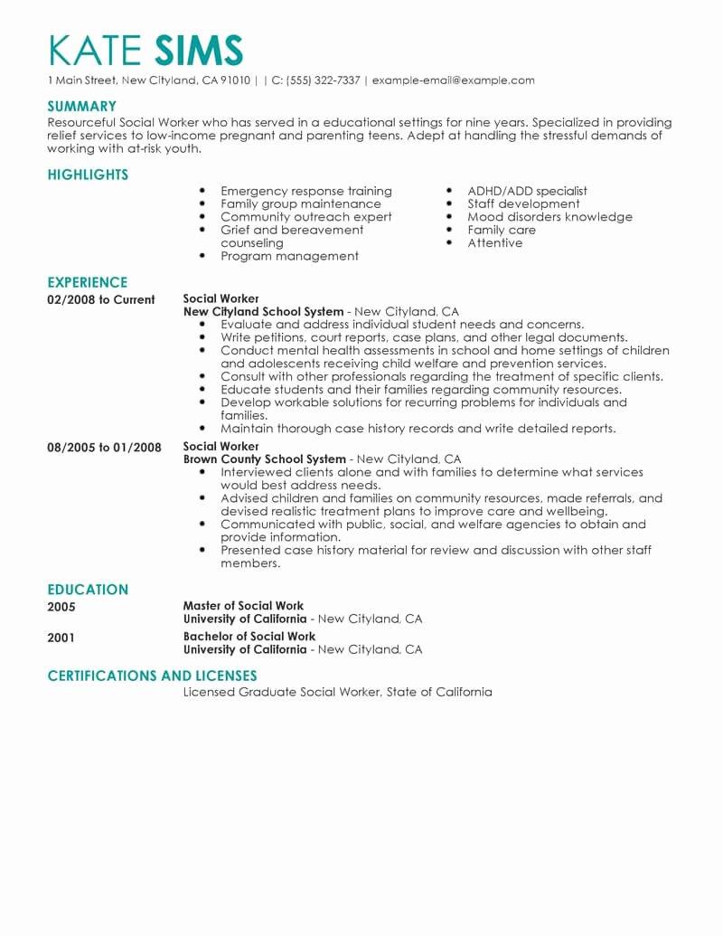Social Work Resume Template Elegant Best social Worker Resume Example