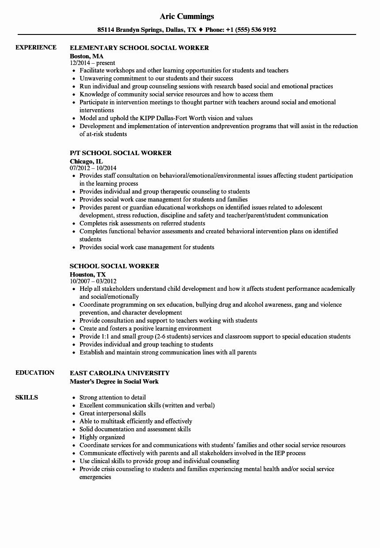 Social Work Resume Template Elegant School social Worker Resume Samples