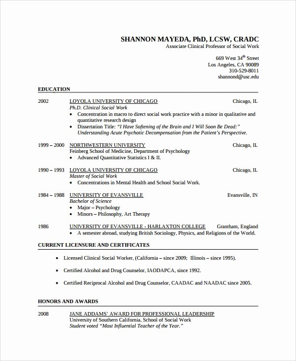 Social Work Resume Template Inspirational 10 social Worker Resume Templates