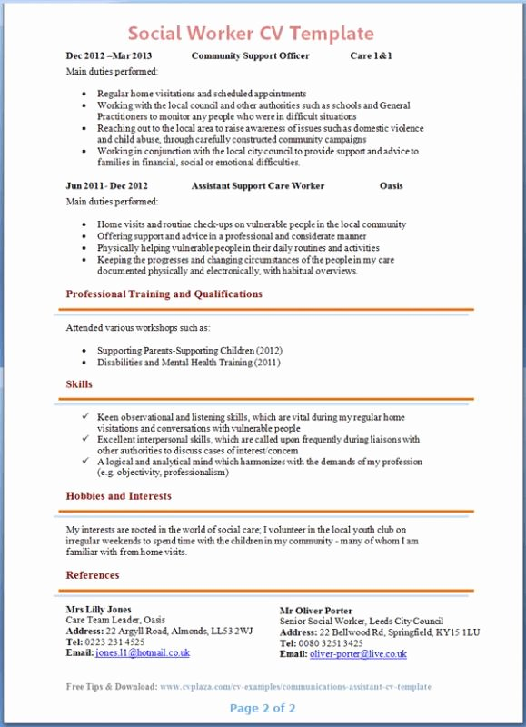 Social Work Resume Template Inspirational social Work Resume Template Sarahepps