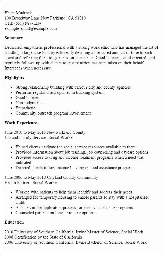 Social Work Resume Template Lovely social Work Resume Templates
