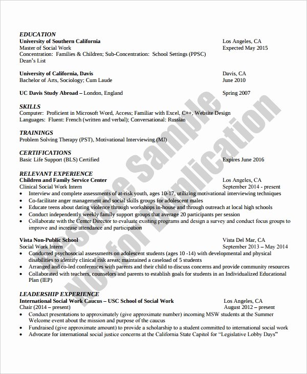 Social Work Resume Template Luxury 10 Work Resume Templates Pdf Doc
