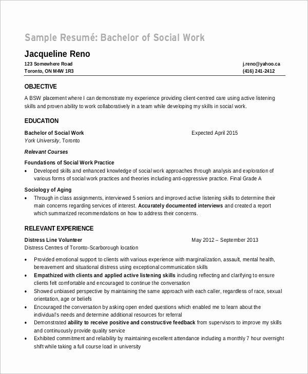 Social Work Resume Template New 8 Sample Objectives for Resume