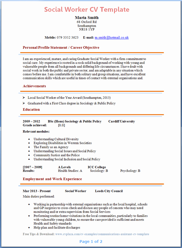 Social Work Resume Template New social Worker Cv Example