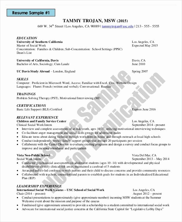 Social Worker Resume Template Awesome Microsoft Work Resume Template 8 Free Word Pdf