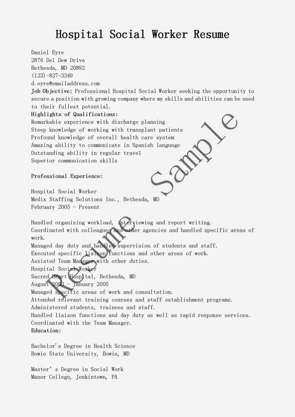 Social Worker Resume Template Best Of Resume Samples Hospital social Worker Resume Sample