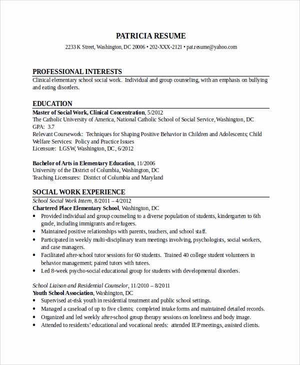Social Worker Resume Template Inspirational 10 social Worker Resume Templates