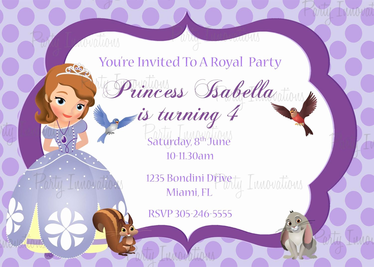 Sofia the First Template Awesome Printable sofia the First Birthday Party Invitation Plus Free