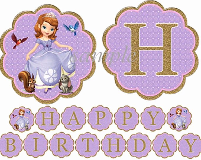 Sofia the First Template Elegant Instant Download sofia the First Birthday Banner Glitter