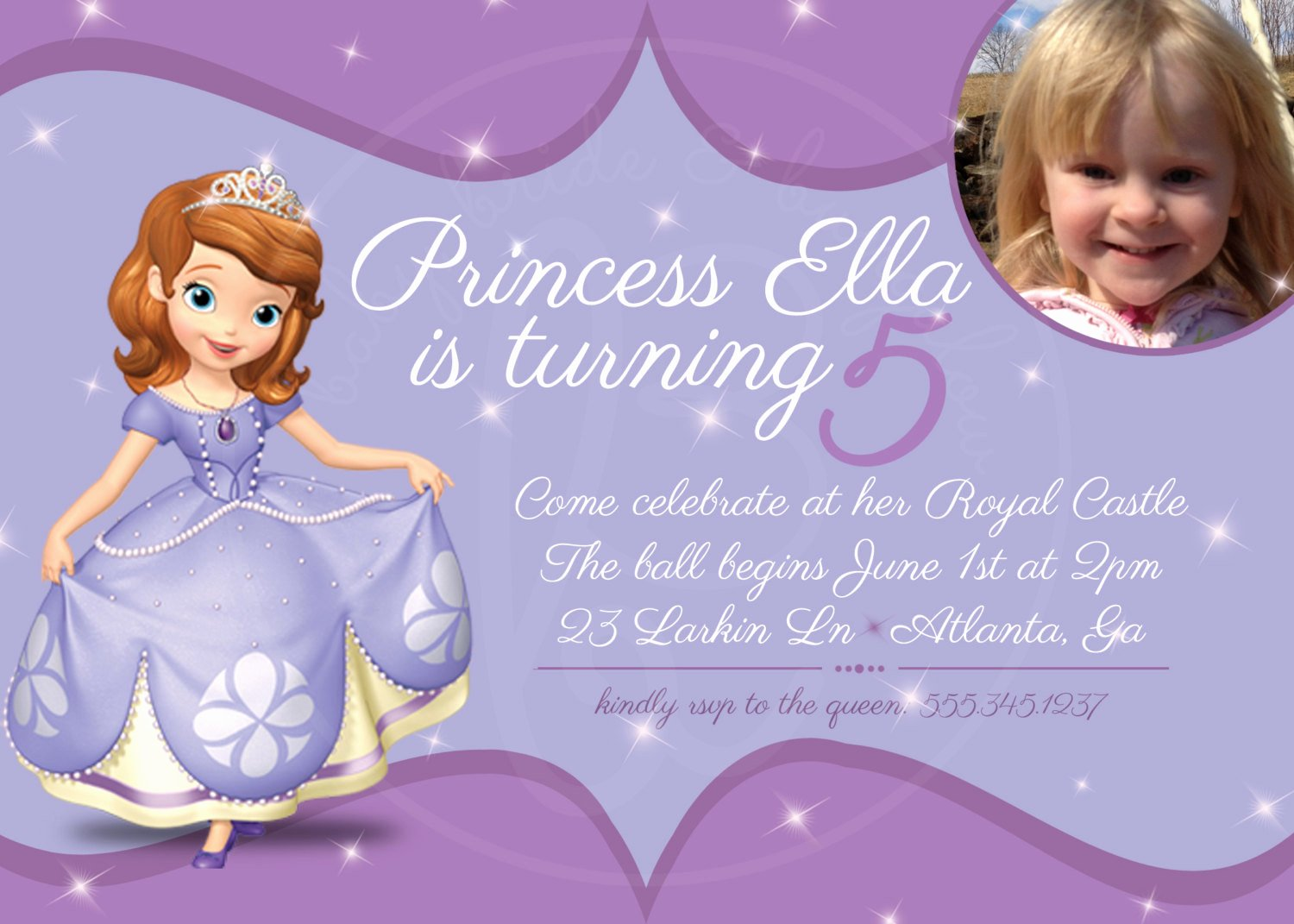 Sofia the First Template Elegant sofia the First Birthday Invitation 5x7 by