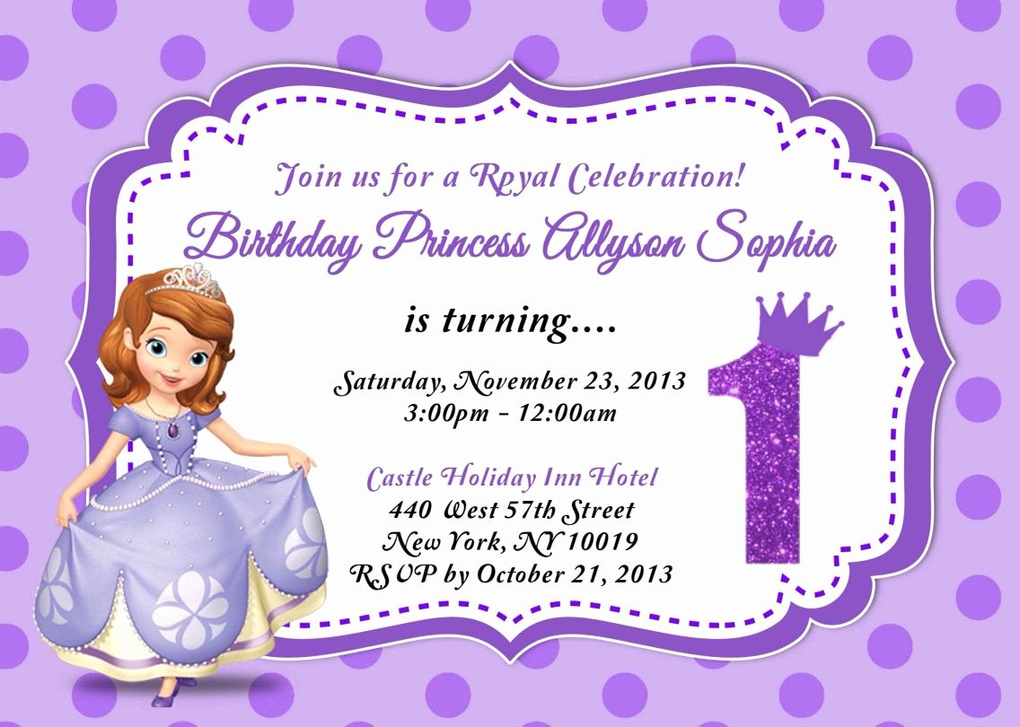Sofia the First Template Fresh sofia the First Birthday Invitation by asapinvites On Etsy