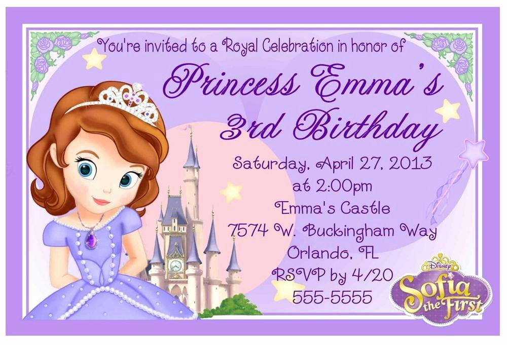 Sofia the First Template Inspirational Princess sofia the First Birthday Invitations Design