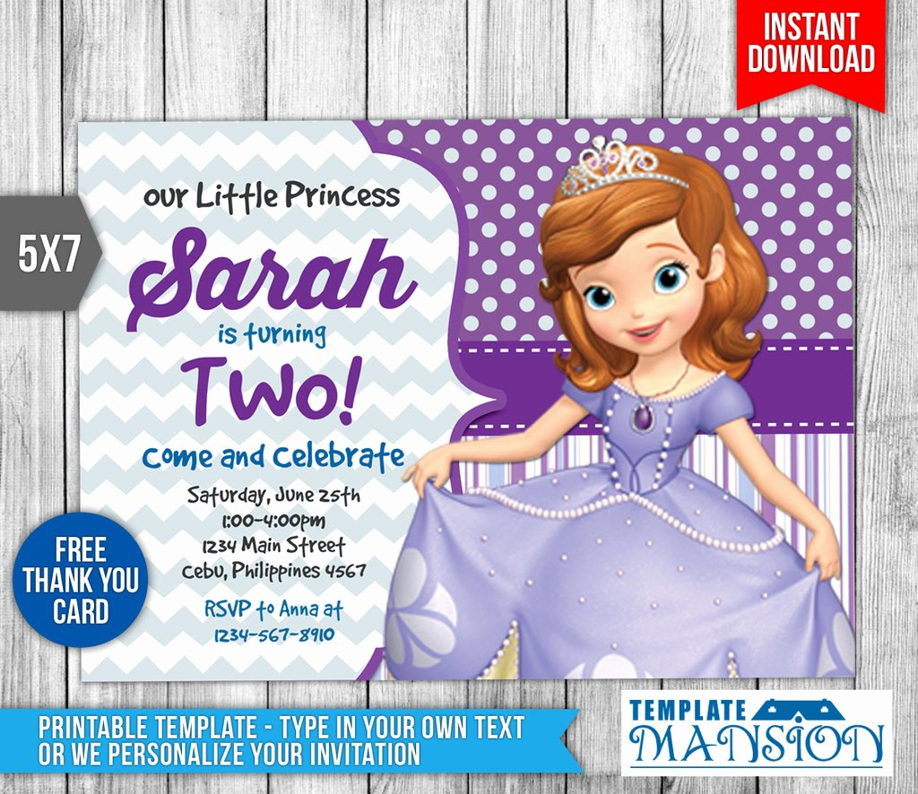 Sofia the First Template Inspirational sofia the First Invitation Invite Template Psd by