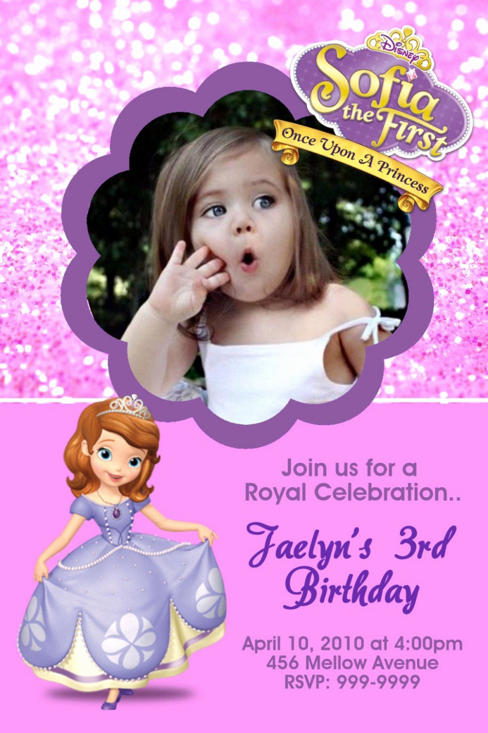 Sofia the First Template Lovely Birthday Invitation Templates sofia the First Birthday
