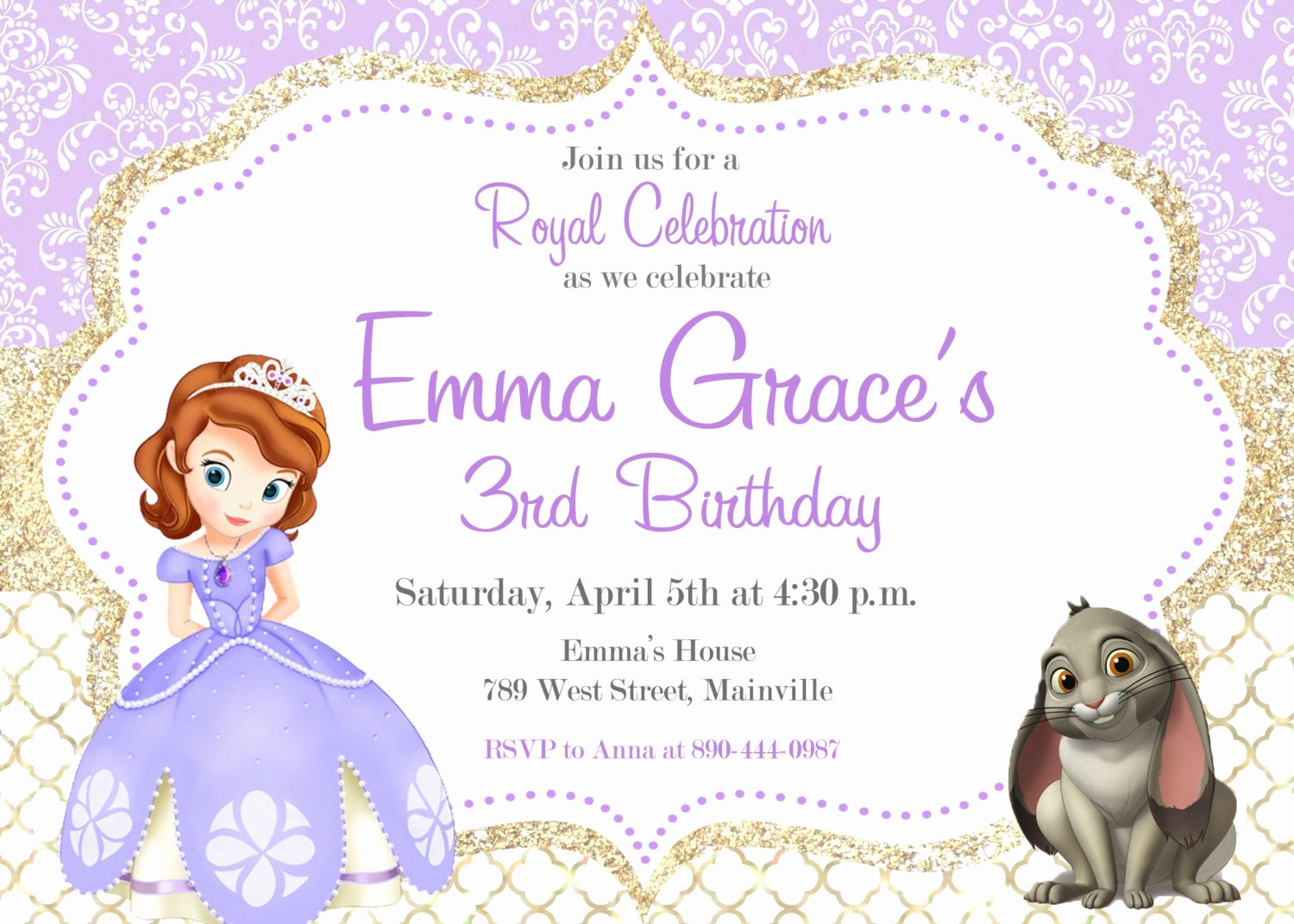 Sofia the First Template Luxury sofia the First Birthday Party Invitation Digital or