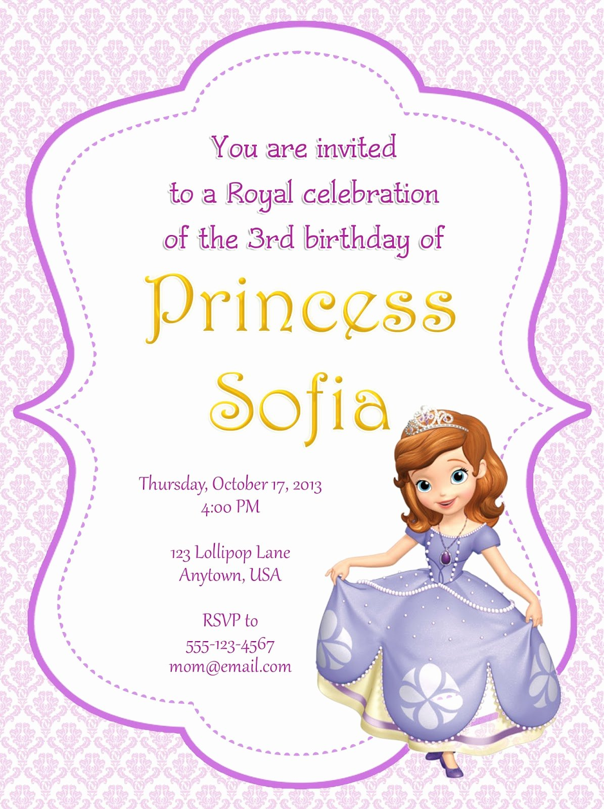 Sofia the First Template Luxury sofia the First Party Invitations sofia the First Party