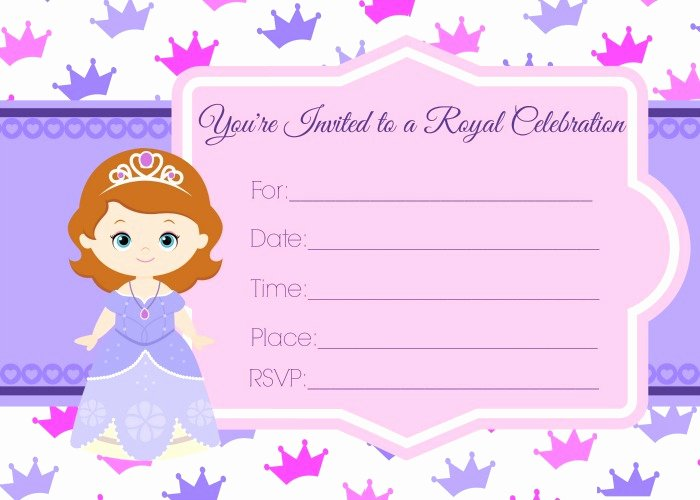 Sofia the First Template New sofia the First Birthday Invites