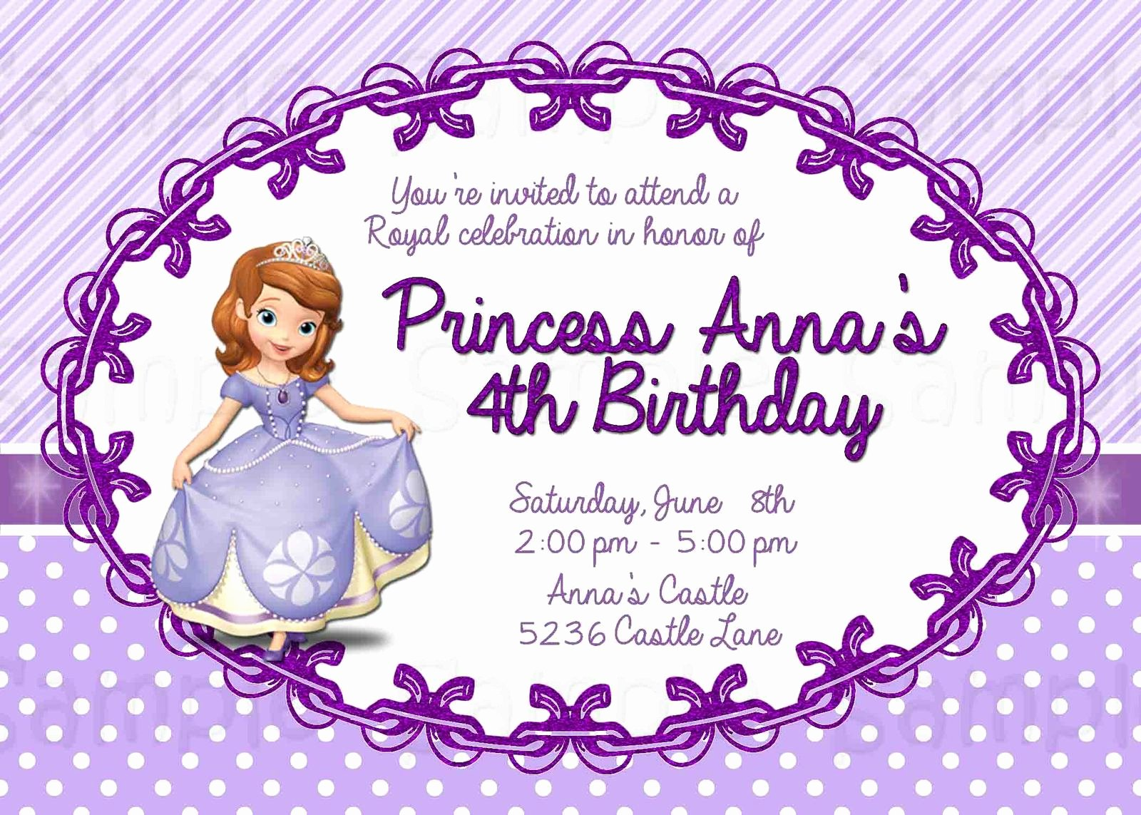 Sofia the First Template Unique 8 Best Of Free Printable Princess sofia Invitations