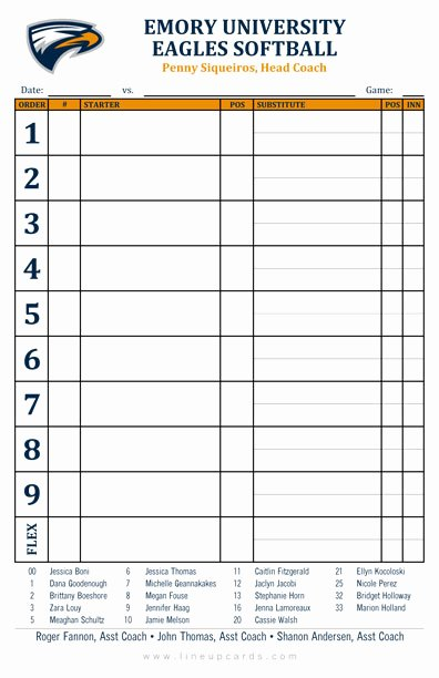 Softball Lineup Cards Template Best Of Custom College softball Lineup Cards