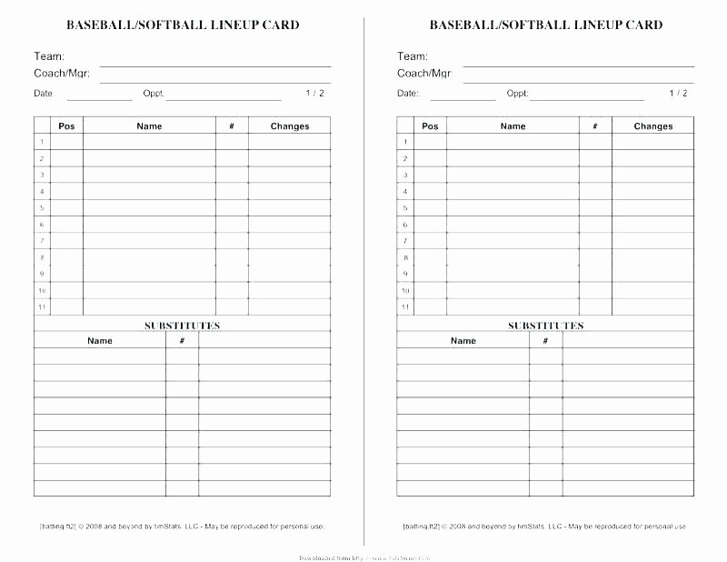 Softball Lineup Cards Template Elegant Free Printable softball Team Roster Template Basketball