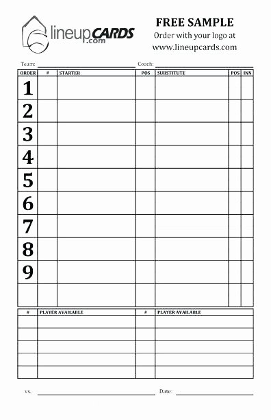 Softball Lineup Cards Template Inspirational Great Batting Lineup Template Inspiration the Best order