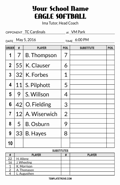 Softball Lineup Cards Template Lovely Lineup Card Templates
