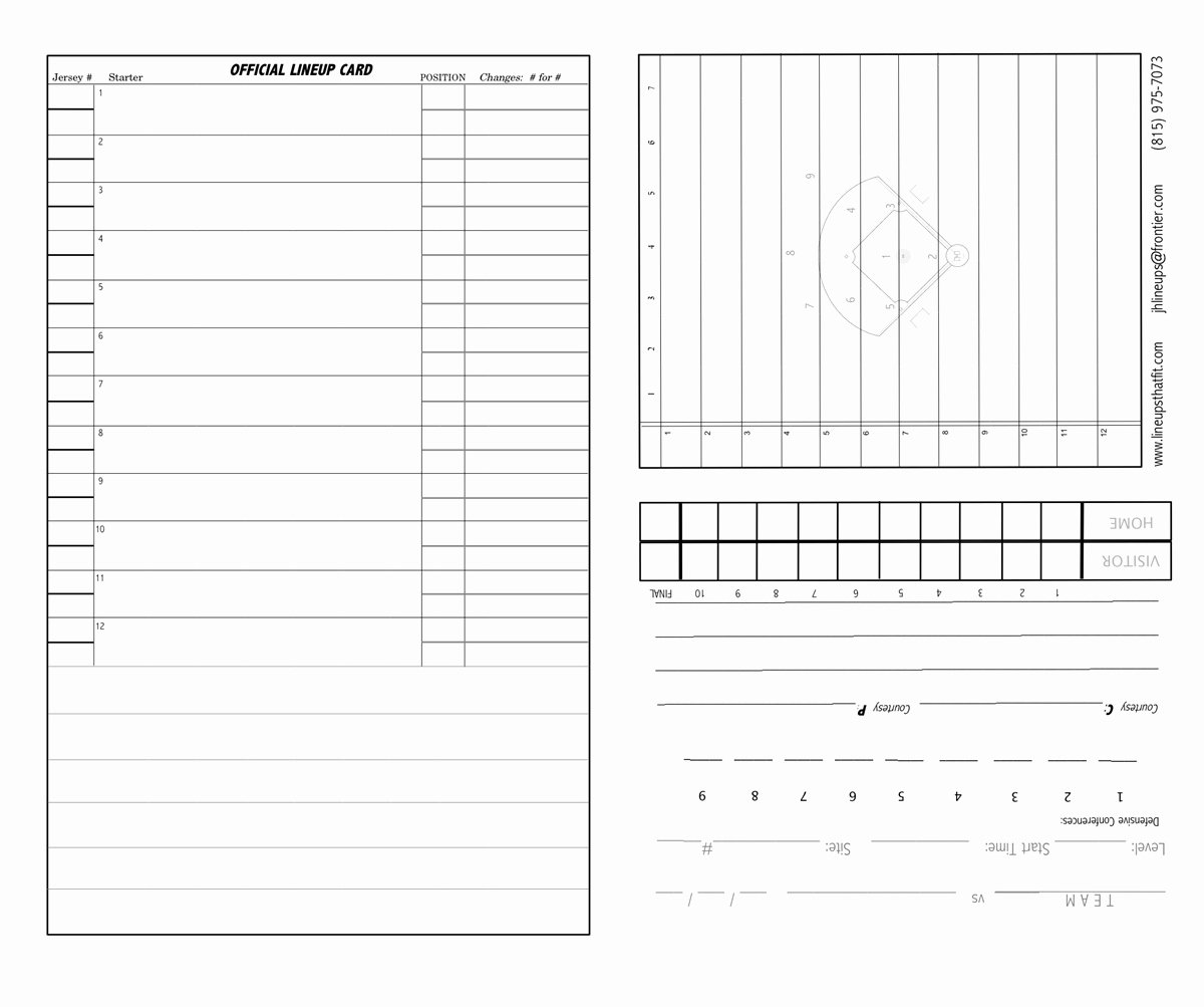 Softball Lineup Cards Template Lovely Short form 4 Part Lineup Cards 30 or 40 Set