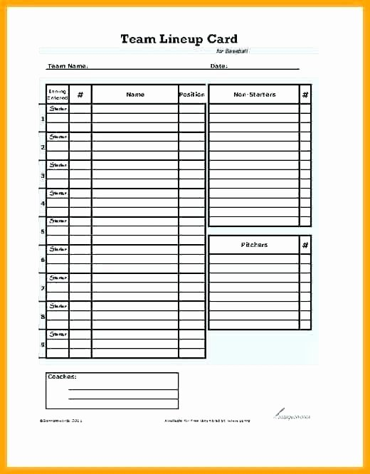 Softball Lineup Template Excel Awesome Baseball Field Template D Chart softball Layout Printable