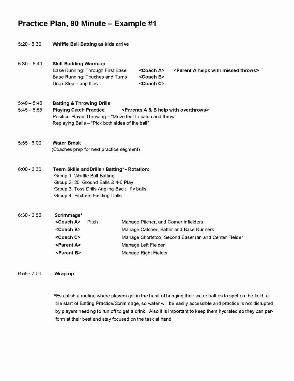 Softball Practice Plan Template New Practice Plans — Baseball Positive